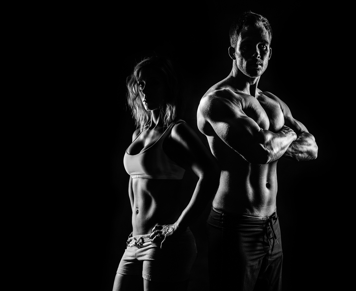 Vince and Tarah Czyzewski, owners of Fallbrook Photography do a fitness shoot of each other.